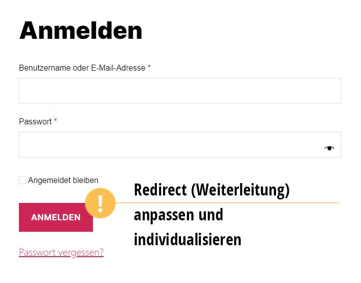 """Ziel ist, Kunden auf eine andere URL als auf die Seite """"Mein Konto"""" umzuleiten."""